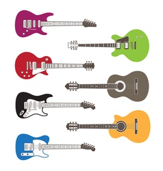 silhouettes of acoustic and electric guitars vector image vector image