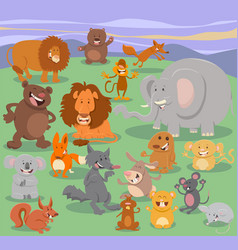 wild animal characters group vector image vector image