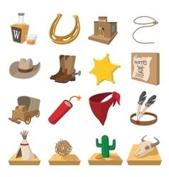 Wild west cowboy cartoon icons vector image vector image