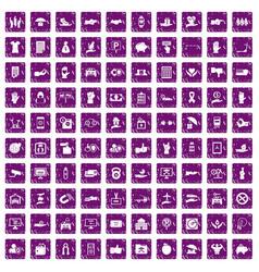 100 hand icons set grunge purple vector image
