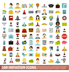 100 initiation icons set flat style vector image