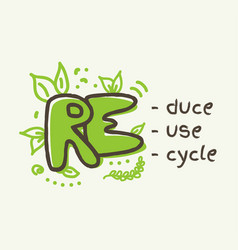 3r concept reduce reuse recycle lettering vector image