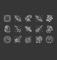 Astronomy chalk icons set space exploration vector