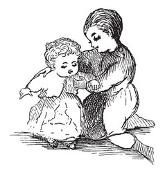 Baby being dressed by her mother in this picture vector