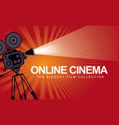 Banner for online cinema with old movie projector vector