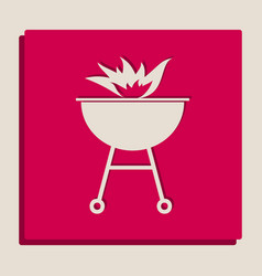 Barbecue with fire sign grayscale version vector