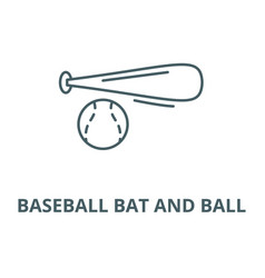 baseball bat and ball line icon linear vector image