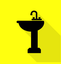 bathroom sink sign black icon with flat style vector image