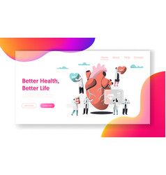Better health heart life test landing page vector
