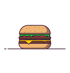 Big burger in line style vector