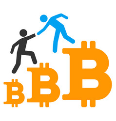 bitcoin business climbing help flat icon vector image