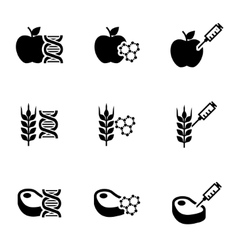 black genetically modyfied food icon set vector image