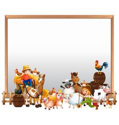 Blank board with animal farm set isolated vector