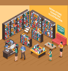 Book shop isometric vector