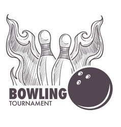 Bowling league poster with ball and skittle vector