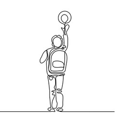 boy with ball going back to school with bag vector image
