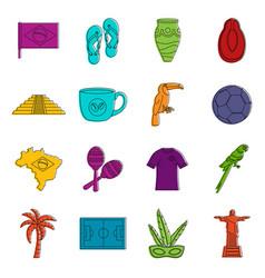 brazil travel symbols icons doodle set vector image