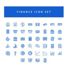 Business and finance icon set with filled outline vector