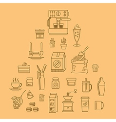 Cafe equipment icons outline design collection vector