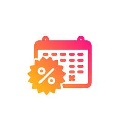 Calendar discounts icon sale shopping sign vector