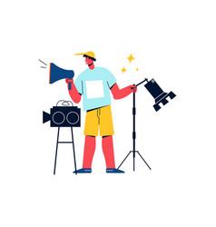 camera crew worker icon vector image