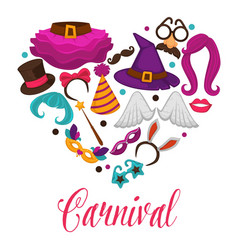carnival masks and costume accessory heart vector image