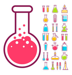 chemical flasks and beakers isolated icons lab vector image