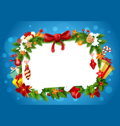 christmas festive frame greeting card vector image