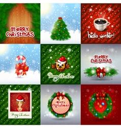 Christmas set decoration merry christmas card set vector image