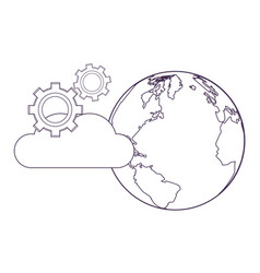 Cloud and gears vector
