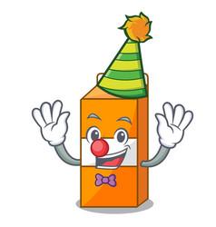 clown package juice mascot cartoon vector image