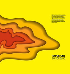 color paper cut background red and yellow layers vector image