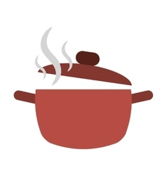 Cooking pot open hot food kitchen vector