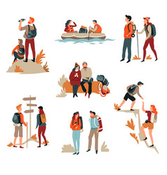 couple hiking man and woman active lifestyle vector image