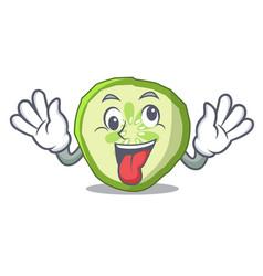 crazy vegetable organic food slice cucumber mascot vector image