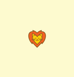 cute lion love logo icon vector image