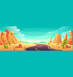 desert landscape with road rocks and cactuses vector image