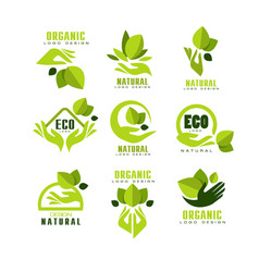 Eco organic natural logo design set premium vector