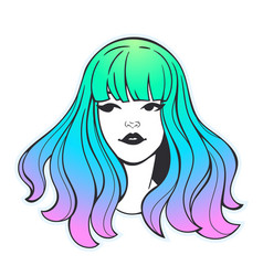 face cute girl with colorful hair vector image