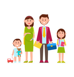 Family parents and kids poster vector
