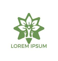 family tree star shape logo design vector image