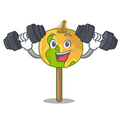 Fitness candy apple character cartoon vector
