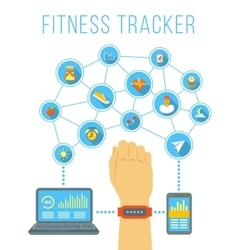 Fitness tracker flat infographic vector