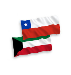 Flags chile and kuwait on a white background vector