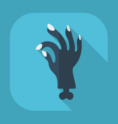 Flat modern design with shadow zombie hand vector