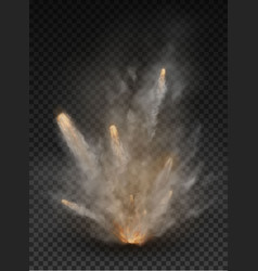 fog and smoke explosion isolated on transparent vector image