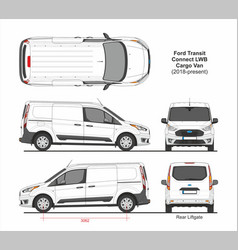 Ford transit connect lwb cargo van 6 doors 2018 vector