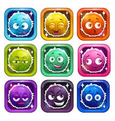 Funny cartoon colorful fluffy characters vector