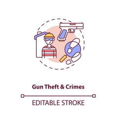 Gun theft and crimes concept icon vector