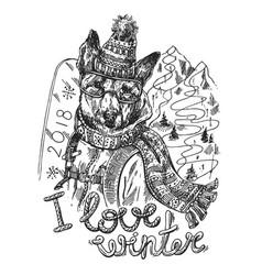 hand drawn print i love winter vector image